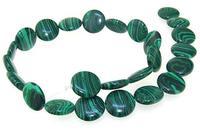 Unique Pearls jewellery Store 16mm Coin Green Malachite Jasper Gemstone Loose Beads One Full Strand 15'' LC3 0272