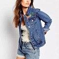 Женская мода Цветочные Вышитые Джинсовые Куртки Пальто Случайные Свободные Осень Дамы С Длинным Рукавом Карманы Верхней Одежды