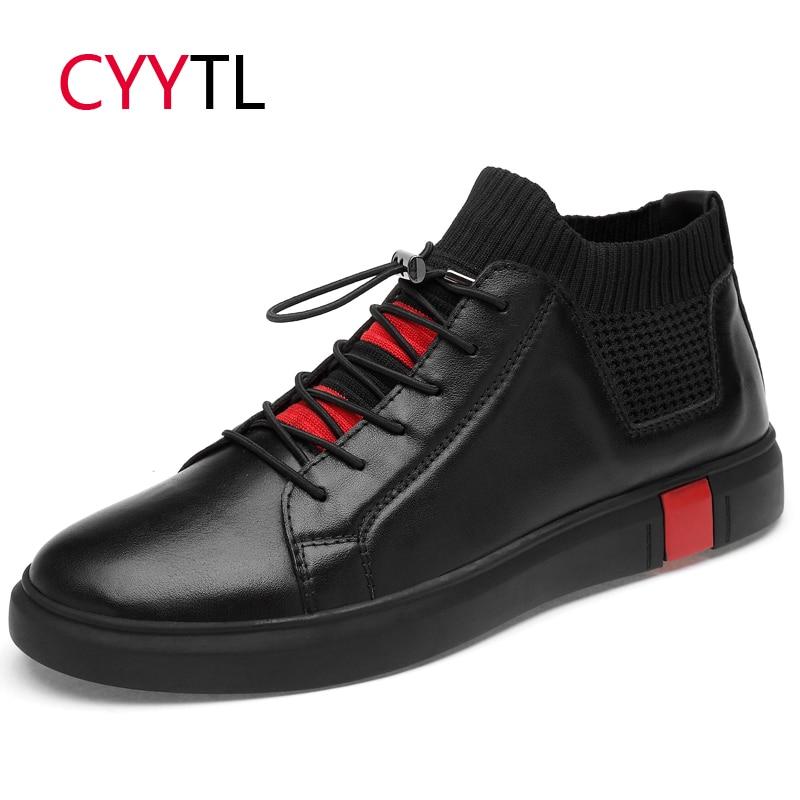 Calçados Alta Adulto Brancos Tênis Homens Hombre black Casuais Cyytl top Suave Moda Masculino White Zapatos Mocassins De Couro Sapatos q7aRwzA