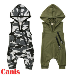 New Summer Baby Boy Sleeveless Clothes Camo Hooded Romper Jumpsuit Outfits(China)