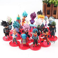 Super Dragon Ball Action Figure Estatueta Azul Goku Super Saiyan Goku Gohan Vegeta Trunks Mai Zamasu Preto 18 pçs/set 5 -9 cm(China)