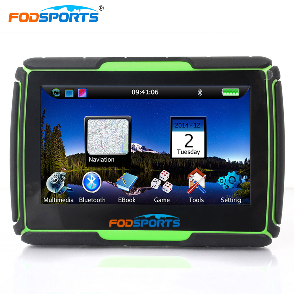 Fodsports 4,3 дюймов 256 МБ 8 ГБ мотоциклетные gps навигации Windows CE6.0 IPX7 Водонепроницаемый автомобиля Bluetooth gps навигатор с кронштейном