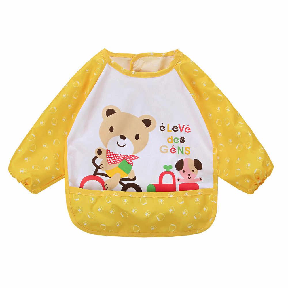 Bib baby kid accessoires Baby Peuter Jongen Meisje Lange Mouw Brief Waterdicht Voeden Art Schort Bib Kiel Druipen Slabbetjes babador