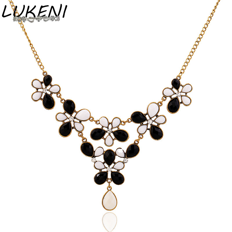 LUKENI Fashion Vintage Black White Flower Resin Statement Chokers Necklaces&Pendant Chain