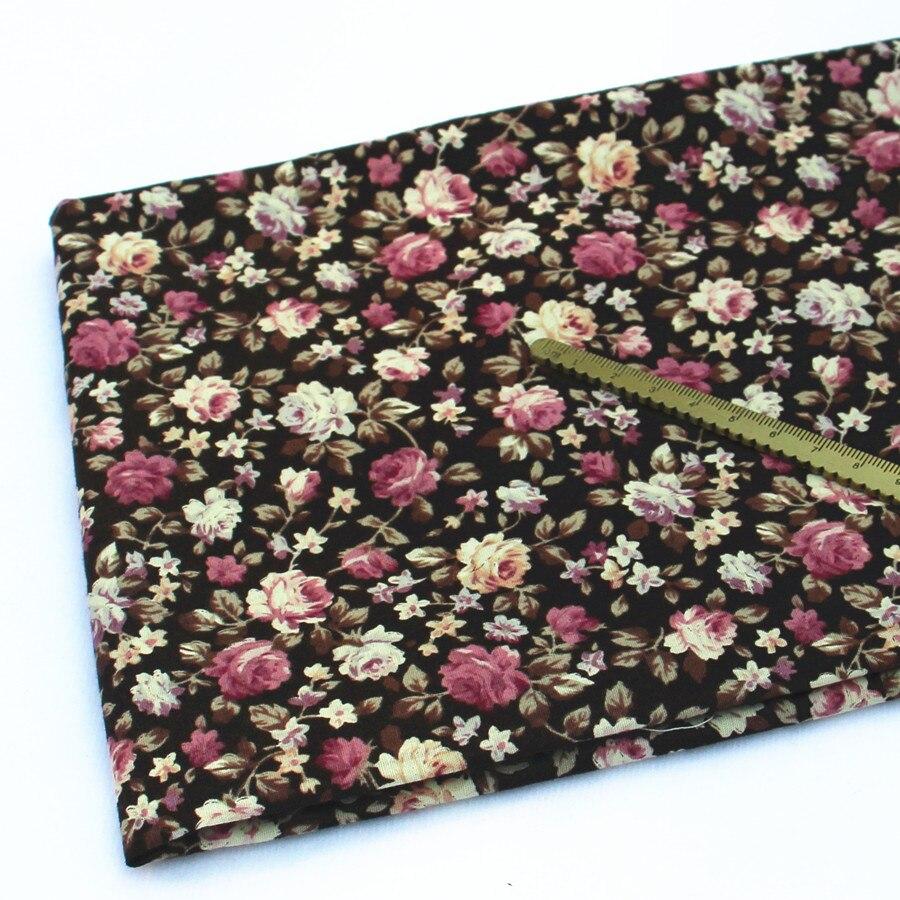 Popeline Baumwolle Stoff für Patchwork Meter Vintage Braun Blumen ...
