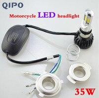 Echtes QIPO motorrad scheinwerferlampe super helle FÜHRTE refit elektrische auto eingebauten 12 V hohe und niedrige licht echt 35 Watt scheinwerfer