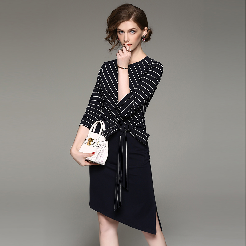 gothic dress Temperament women's European American knitted striped round neck tie seven-point sleeve dress Dresses 1712301 seven gothic tales