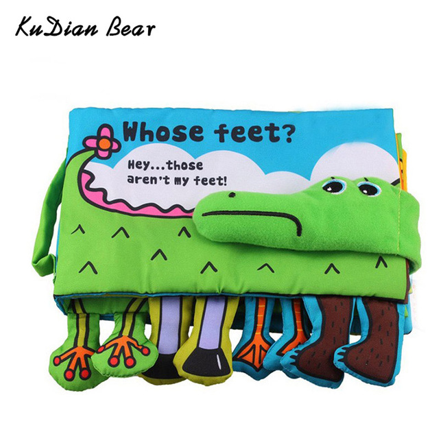 KUDIAN BEAR Baby Cloth Book Children Educational Toys Soft Fabric Crocodile English Teaching Quiet Book Baby Toy BYC081 PT49