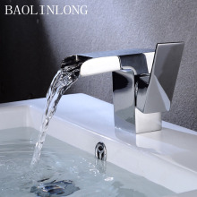 BAOLINLONG Deck Mount Brass Basin Bathroom Waterfall Faucets Tap Single Hole Vanity Vessel Sinks Mixer Faucet