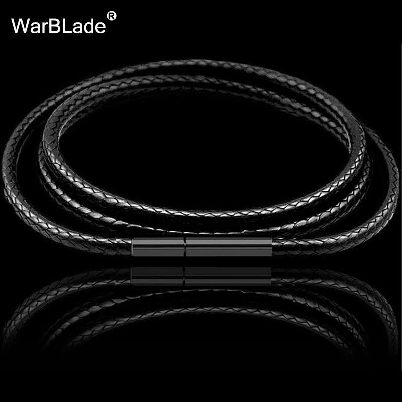 1mm 1.5mm 2mm 3mm Black Necklace Cord Leather Cord Wax Rope Chain With Stainless Steel Clasp For Men Women DIY Necklace Making