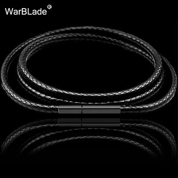 1mm 1.5mm 2mm 3mm Black Necklace Cord Leather Wax Rope Chain With Stainless Steel Clasp For Men Women DIY Making - discount item  41% OFF Jewelry Making