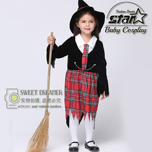 3 Pcs Sets Kids Magician Costumes Carnival Halloween Children Girls Cosplay Clothes Witch Harry Fancy Dress
