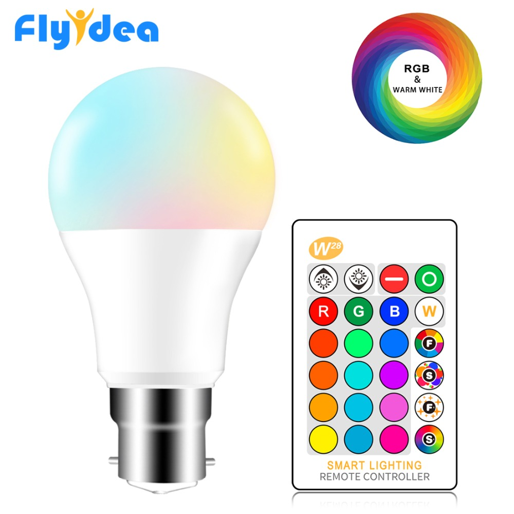 B22 Bayonet RGB Led Bulb 5W 10W 15W Dimmable 16 Color Changing Magic Lighting Bulb AC 220V 110V RGB + White IR Remote Lampada