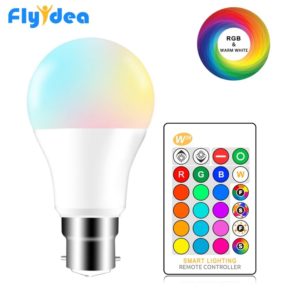 B22 Bayonet RGB Led Bulb 5W 10W 15W Dimmable 16 Color Changing Magic Lighting Bulb AC 220V 110V RGB + White IR Remote Lampada