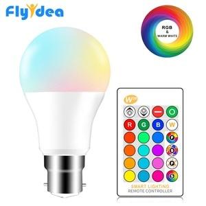 Image 1 - B22 Süngü RGB Led Ampul 5 W 10 W 15 W Kısılabilir 16 Renk Değiştirme Sihirli Aydınlatma Ampul AC 220 V 110 V RGB + Beyaz IR Uzaktan Lampada