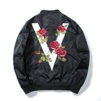 2017 Autumn Men Women Rose Embroidery Baseball Jacket Flower Fashion Casual Design Streetwear Coat Couple Pilot