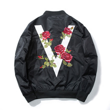 2017 Autumn Men Women Rose Embroidery Baseball Jacket Flower Fashion Casual Design Streetwear Coat Couple Pilot Bomber Jacket
