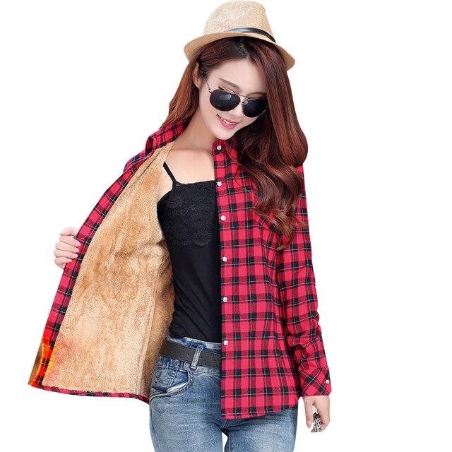 2017 warm winter coat female  thick velvet shirt plaid long-sleeved shirt  comfortable winter fashion cotton shirt women 20color