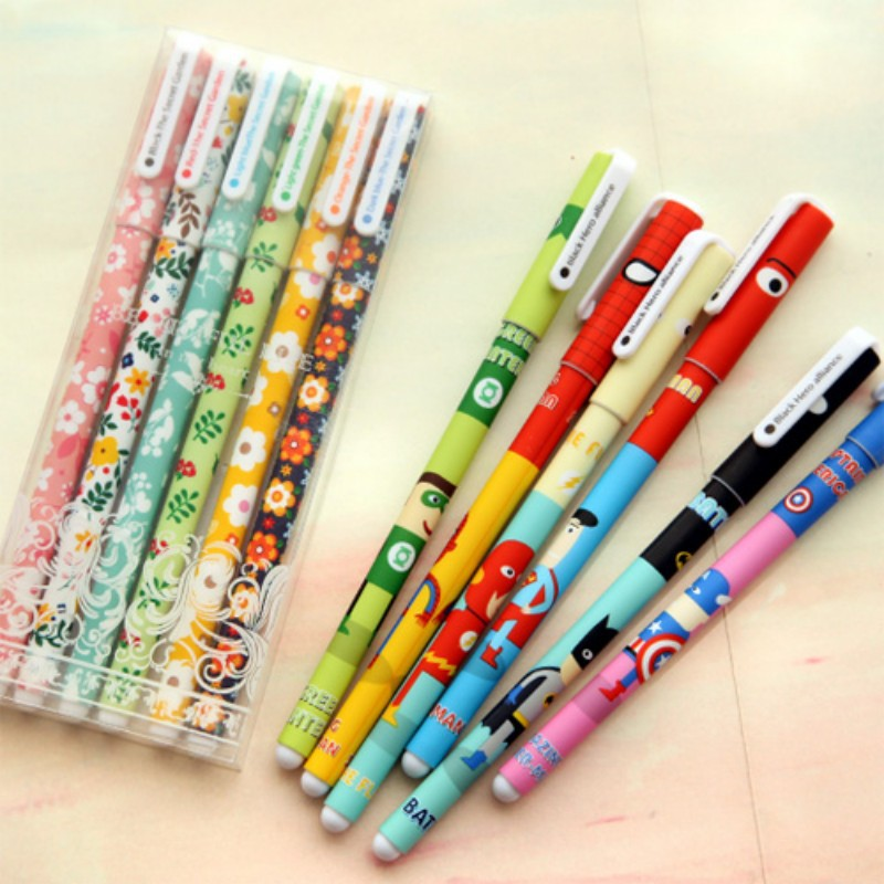 6 pcs/set Cute Gel pen Brown bear Hello Kitty Hero Flower Color ink pens Stationery Caneta escolar material school supplies 6 pcs set color gel pen starry pattern cute kitty hero roller ball pens stationery office school supplies