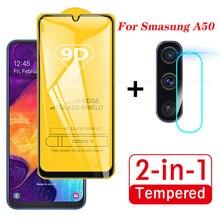 2 In 1สำหรับSamsung Galaxy A50 A51เลนส์กล้องฟิล์ม9Dป้องกันหน้าจอA70 A71ป้องกันกระจกนิรภัยสำหรับgalaxy SM A50 A505F