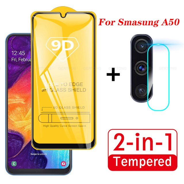2 In 1 on For Samsung Galaxy A50 2019 Camera Lens Film 9D Screen Protector Protective
