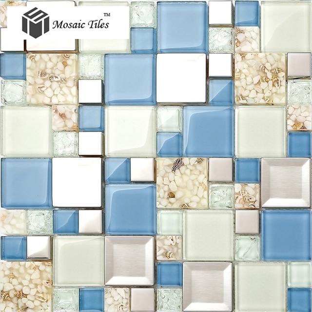 TST Glas Metall ConchTile Glasmosaik Blue & White Harz stahl Mosaik ...