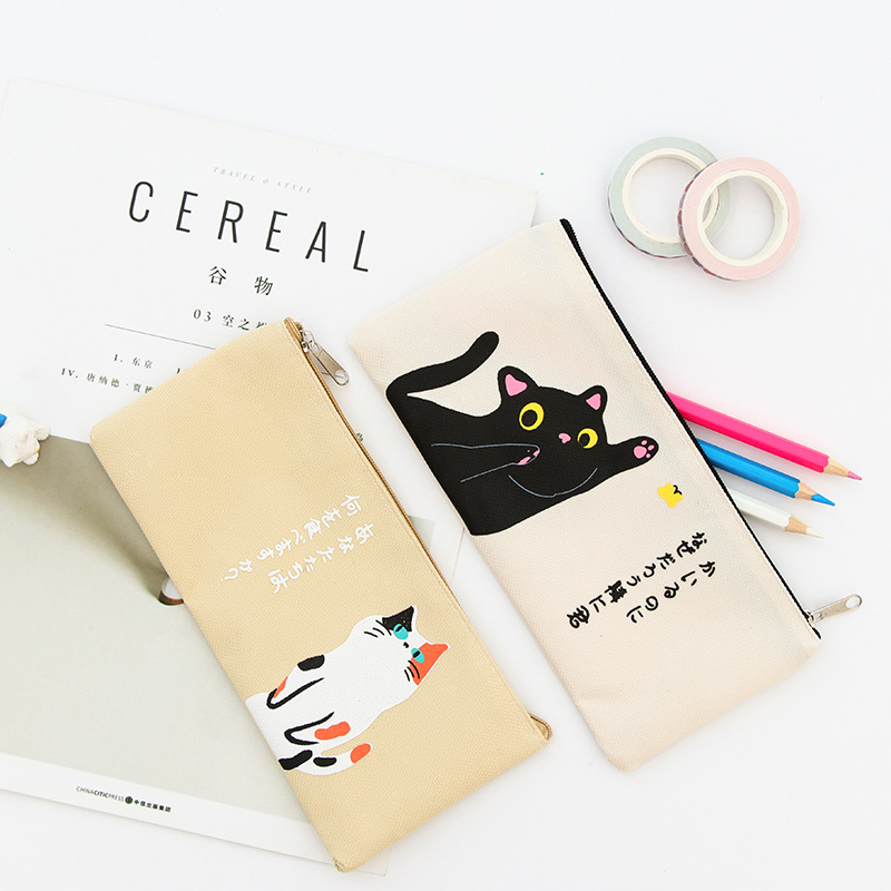 Kawaii Cute Korean Cats Canvas Pencil Case Storage Organizer Pen Bags Pouch Pencil Bag Pencilcase School Supply Stationery