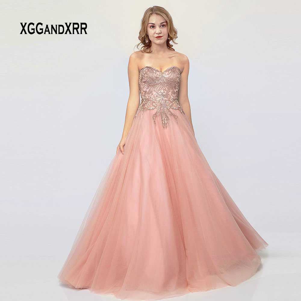 a75c33abab Luxury Pink Prom Dress 2019 Long Evening Dress Tulle Beading Sequin  Graduation Dress Sweetheart Off Shoulder