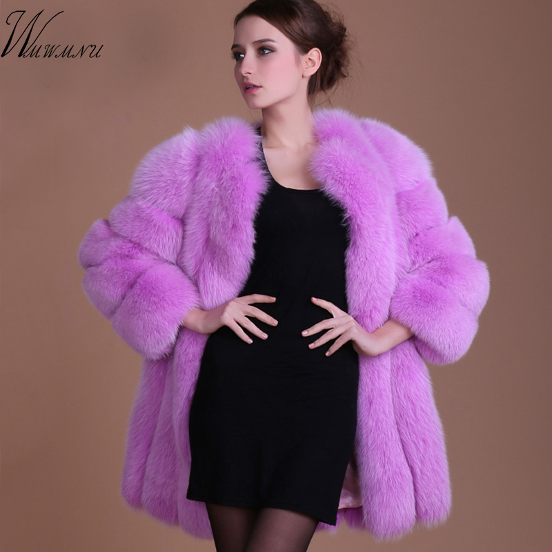 Winter Women's Elegant Elegant Warm Faux Fur Coat  Ponchos And Capes 2018 New Arrive Casual Plus Size 5xl Long Sleeve Pink Fur C