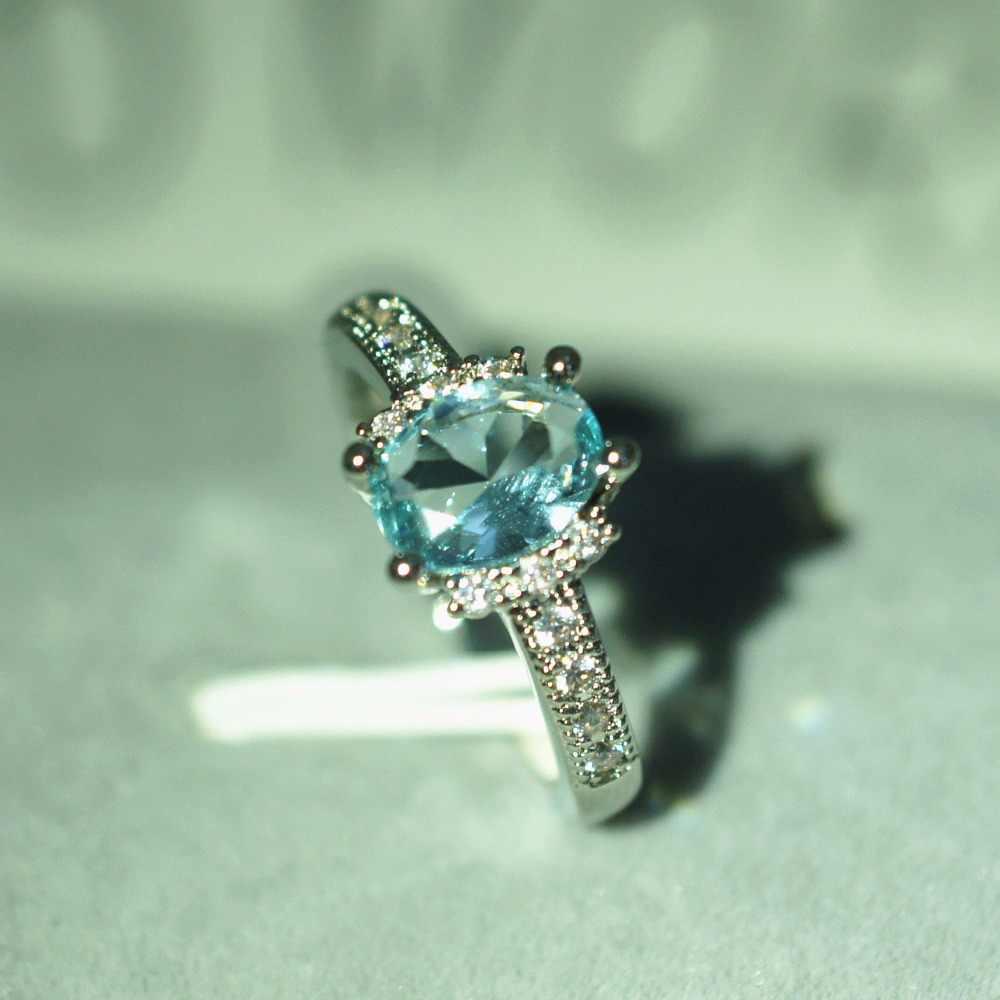 Bamos Boho หญิงแสงสีฟ้ารูปไข่แหวนเงินแท้ 925 CZ หินแหวนงานแต่งงานแหวนสำหรับผู้หญิง