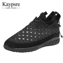 Kaypsre Spring and autumn fashion casual shoes men's breathable woven leather for low