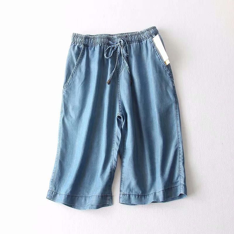 2019 Straight Blue Thin Knee-Length Pants Lace Up Women Elastic Waist Casual Loose Pants