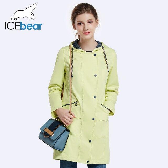 ICEbear 2017 Женщин Осень Длинный Плащ Для Женщин Полный Рукава Шнурок Талии Пальто Однобортный Пиджак 17G152D