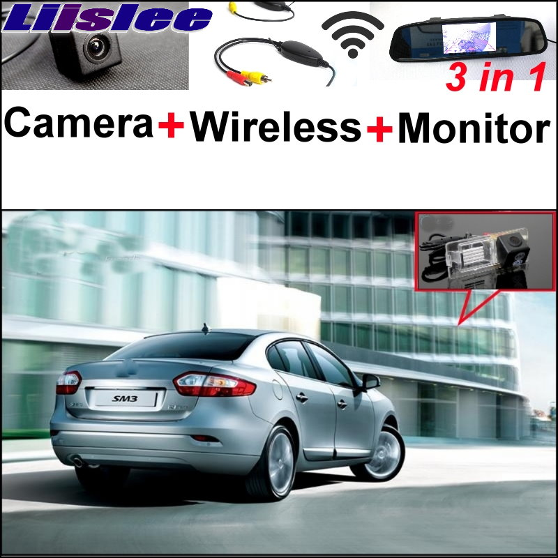 Liislee 3 in1 Special Rear View Camera + Wireless Receiver + Mirror Monitor Easy Back Up Parking System For Renault Samsung SM3 for mazda 2 demio 3 axela 323 familia 6 m6 liislee car side view camera blind spots areas flexible copilot camera monitor system