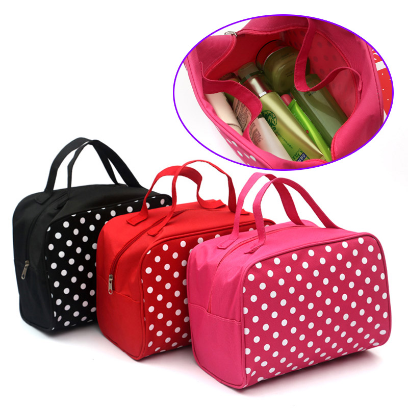 Fashion Lady Organizer Multi Functional Cosmetic Storage Dots Bags Women Makeup Bag With Pockets Toiletry Pouch multi functional stripes three lattice storage hang bags
