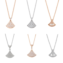 JEM 925 sterling silver bulgaria necklace jewelry fan leaf inlaid diamond agate fashionable ladies party gift