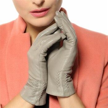 2020 NEW Women's Genuine Leather Gloves Female Warm Velvet Lined Fashion Trend Fingers Women Sheepskin Gloves L013NC-1 2020 new men genuine leather gloves male fashion trend autumn winter plush lined black suede sheepskin touch gloves 9006