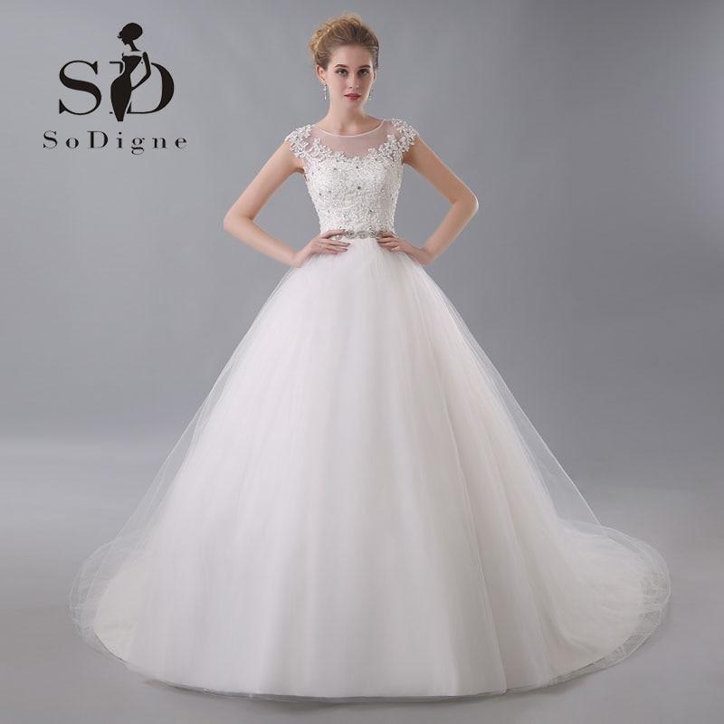 Wedding Dress 2017 SoDigne Elegant Lace Applique Customized Beaded Cap Sleeve Rhinestone Nude Back Vestido De Noiva Bridal Gown