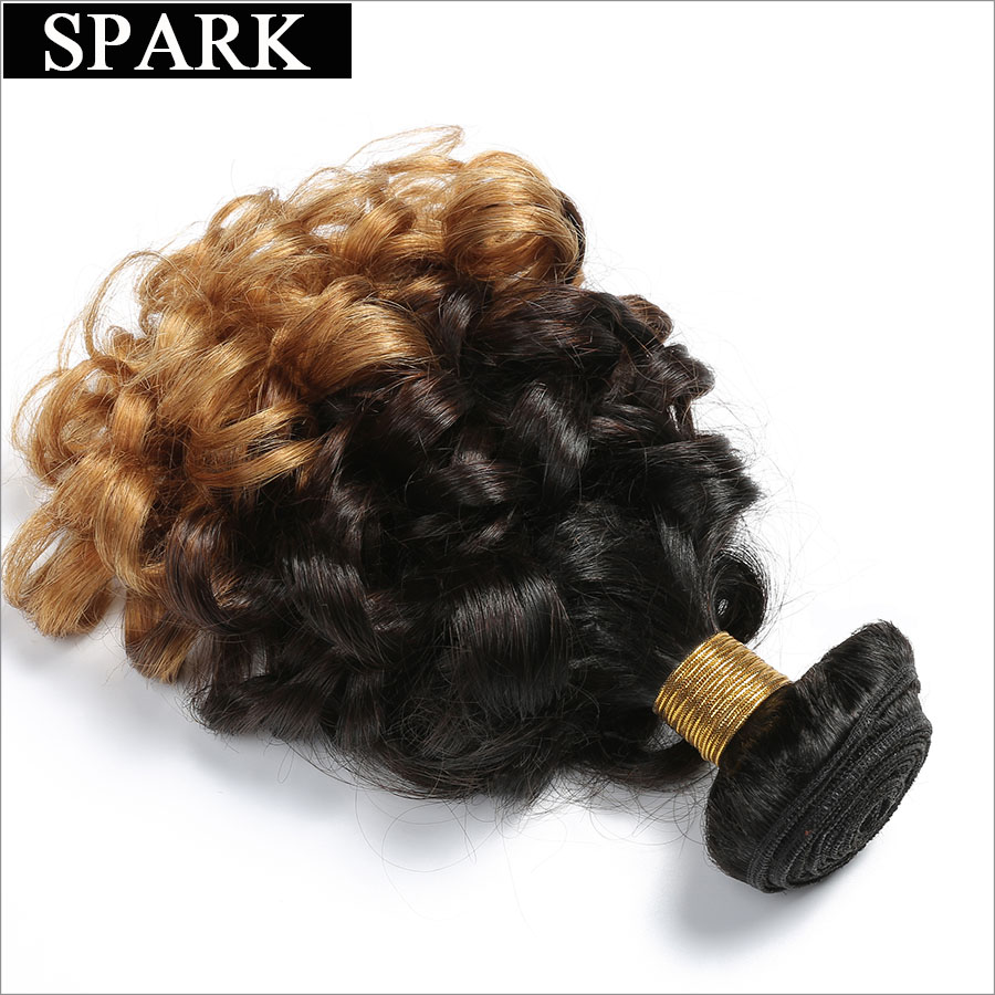 Spark 1B/4/27 3 Tone Ombre Malaysian Bouncy Curly Hair Bundles 12-26 inch 1 Bundle non remy Human Hair Extensions Free Shipping
