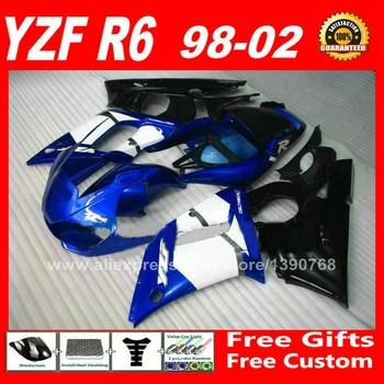 Factory blue black Fairing kit for YAMAHA YZF R6 98 99 00 01 02 plastic parts R6 fairings kits 1998 1999 2000 2001 2002