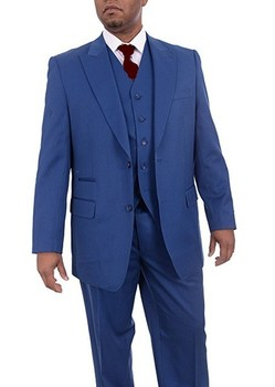 High Quality Two Button Blue Groom Tuxedos Peak Lapel Groomsmen Best Man Mens Wedding Suit (Jacket+Pants+Vest+Tie) W:252