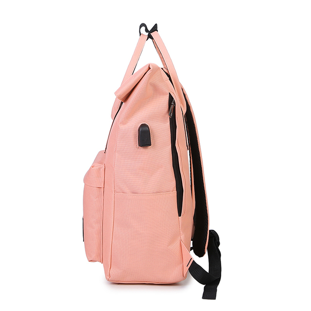 Women External USB Charge Backpack Canvas Rucksack Male Mochila Escolar Girls Laptop Shoulder School Bags Backpack for teens 1