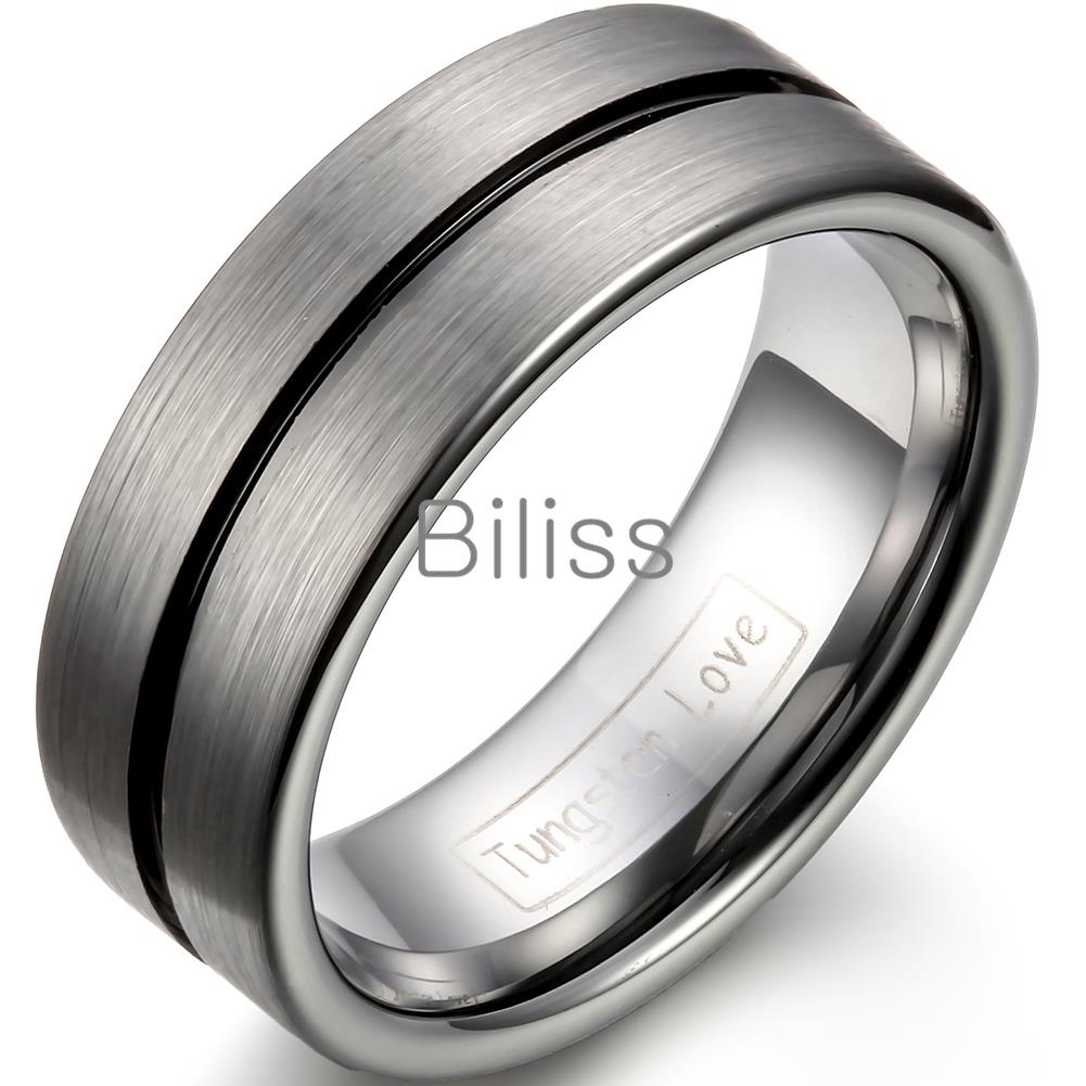 Stainless Steel Diagonal Grooved Comfort Fit Cushion Band Ring