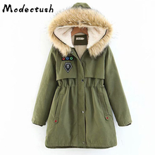 Modecrush Winter Autumn Thick Plus Size Fur Hooded Long Parkas Mujer 2019 Fashion Coat and Jackets Womens Outerwear Warm
