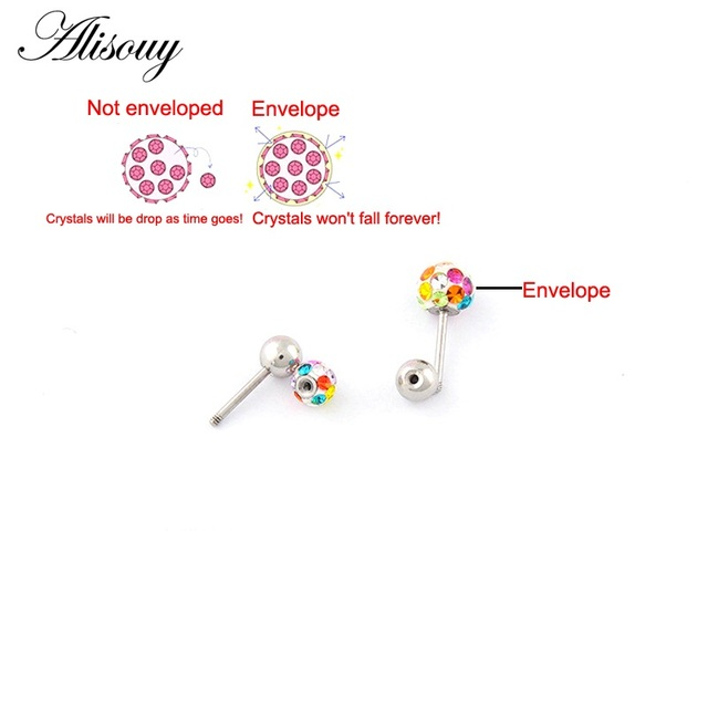 Alisouy 2pcs/lot 3/4/5/6mm 316L Stainless Steel Epoxy Crystal Threaded Ball Body Piercing Jewelry 20GLip Labret Eyebrow Ear Ring 5