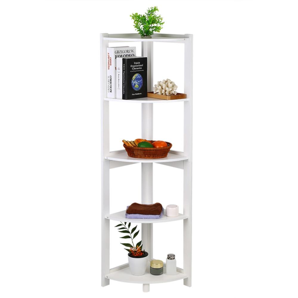 5-tier Corner Bookshelf Storage Cabinet Bookcase Rack Organizer Cd Book Decor Bathroom Hardware Bathroom Shelves