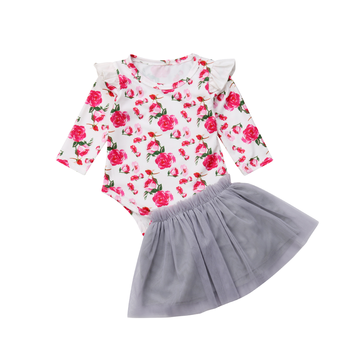 Bodysuits Clothing-Sets Party-Outfit Ruffles Toddler Baby-Girls Infant 2pcs Flower Princess