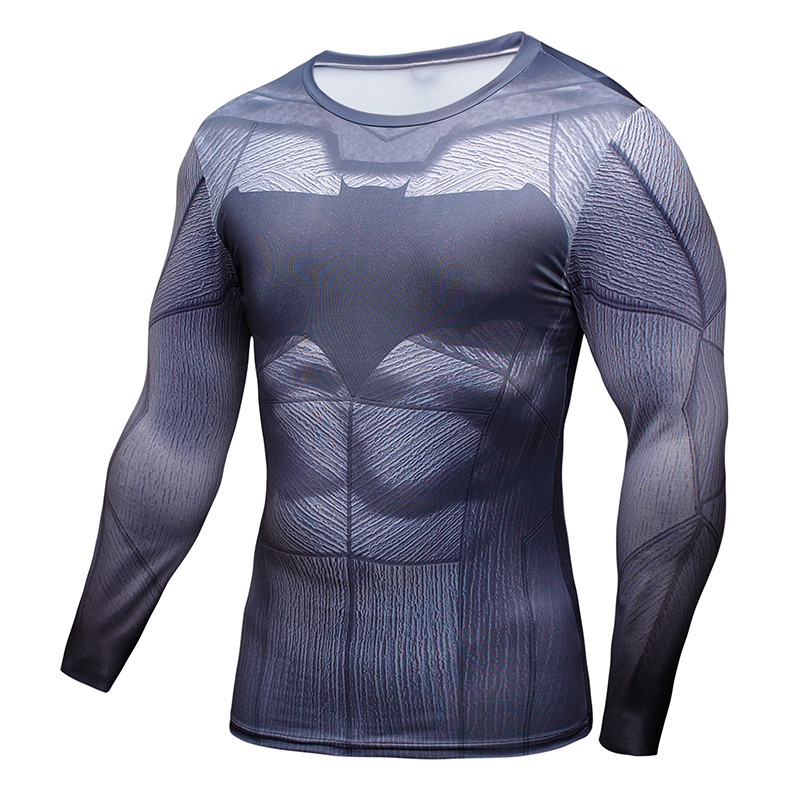 Batman Shirt Cosplay Tops Compression Costume Long Sleeve Fitness Men T-Shirt