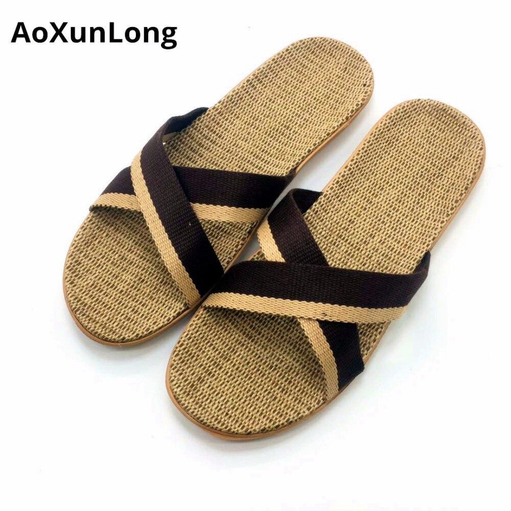 46dc8079e Men s Slippers Linen Weave Home Slippers Cross Bandage Summer Men s Sandals  Size 40 45 Flip Flops Men Shoes Zapatos Hombre 11