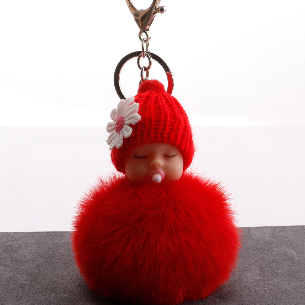 Cute Fluffy Sleeping Baby Doll Keychain Women Key Holder Bag Pendant Pompom Rabbit Fur Ball Car Keyring Baby Toy Key Chain cute fox bobbles fur ball rhinestone keychain bag car ring keyring
